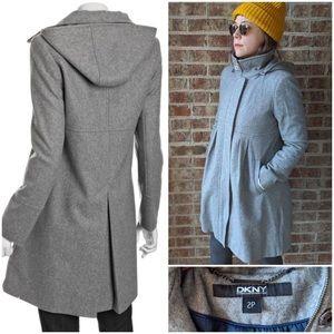 DKNY Empire Waist Gray Wool Coat 2p Petite w Hood